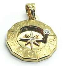 18K YELLOW GOLD ZODIAC SIGN ROUND 25mm DIAMOND PENDANT WIND COMPASS ZODIACAL image 4