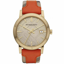 Burberry BU9016 Large Check Swiss Made Orange Leather Womens Watch - $177.21
