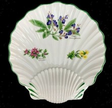 "Royal Worcester Worcester Herbs Green Trim Botanical Shell Shaped Dish 8-3/4"" - $32.69"