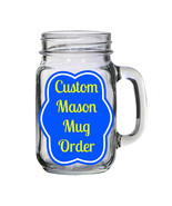 Custom Personalized 16oz Glass Mason Jar Mug with Lid and Straw - $16.99