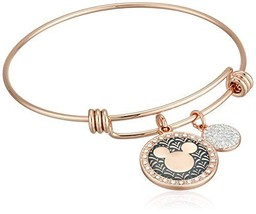 Disney Women's Rose Gold-Tone Stainless Steel Adjustable Bangle Bracelet with Si - $40.99