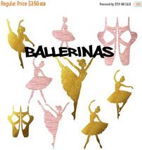 Ballerinas clipart, rose gold ballet, gold foil ballerina shoes, balleri... - $3.15