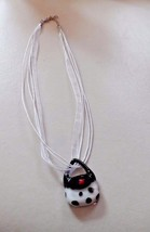 White and black Murano glass purse handbag pendant on a ribbon necklace - $6.95