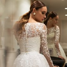 Long Sleeve Princess Bridal Luxury A-line Sweep Ball Gown image 2