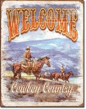 Welcome Cowboy County Rustic Weathered Horse Wall Art Decor Metal Tin Sign New - $15.99