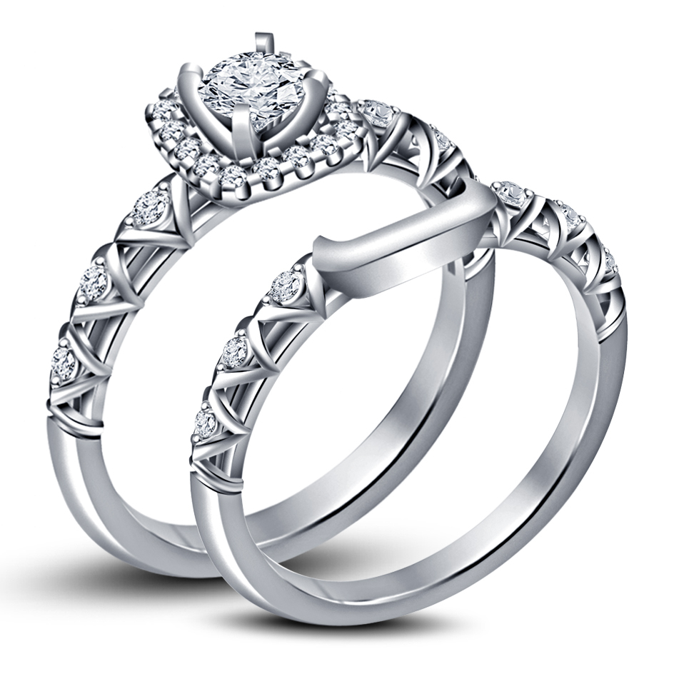 14k White GP .925 Silver Sim Diamond Engagement Bridal Ring Set & Free Shipping