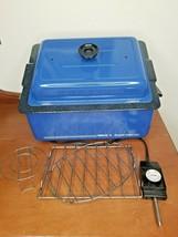 Vintage Nesco 4-Qt. Oven Roaster Royal Blue Removable Non-Stick Pan EUC ... - $59.39