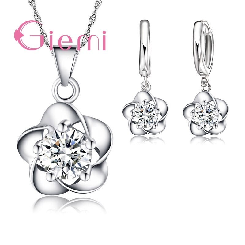 Primary image for Fine Women Gift Set Beautiful Flower with CZ Zircon Pure 925 Sterling Silver Nec