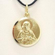 18K YELLOW GOLD SCAPULAR OUR LADY OF MOUNT CARMEL SACRED HEART MEDAL 15mm CARMEN image 3
