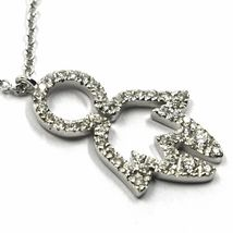18K WHITE GOLD NECKLACE, BABY CHILD BOY SON PENDANT WITH DIAMONDS ROLO CHAIN image 3
