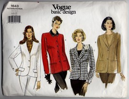 Vogue Basic Design Size 6 Vintage Sewing Pattern 1643 Misses Petite Jacket - $13.99