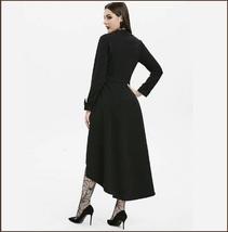 Retro Gothic Long Cuffed Sleeves 3 Bust Straps Zip Up Asymmetrical Hem Dress image 3