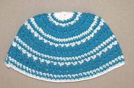 Frik Kippah Skull Cap Cotton Yamaka Crochet Blue White Striped Israel 22 cm