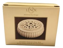 Lenox Filigree Pierced Oval Porcelain Covered Box - $29.88