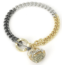 NWT Juicy Couture Black Label Gold Ombre Crystal Heart Charm Bracelet WJ... - $35.64