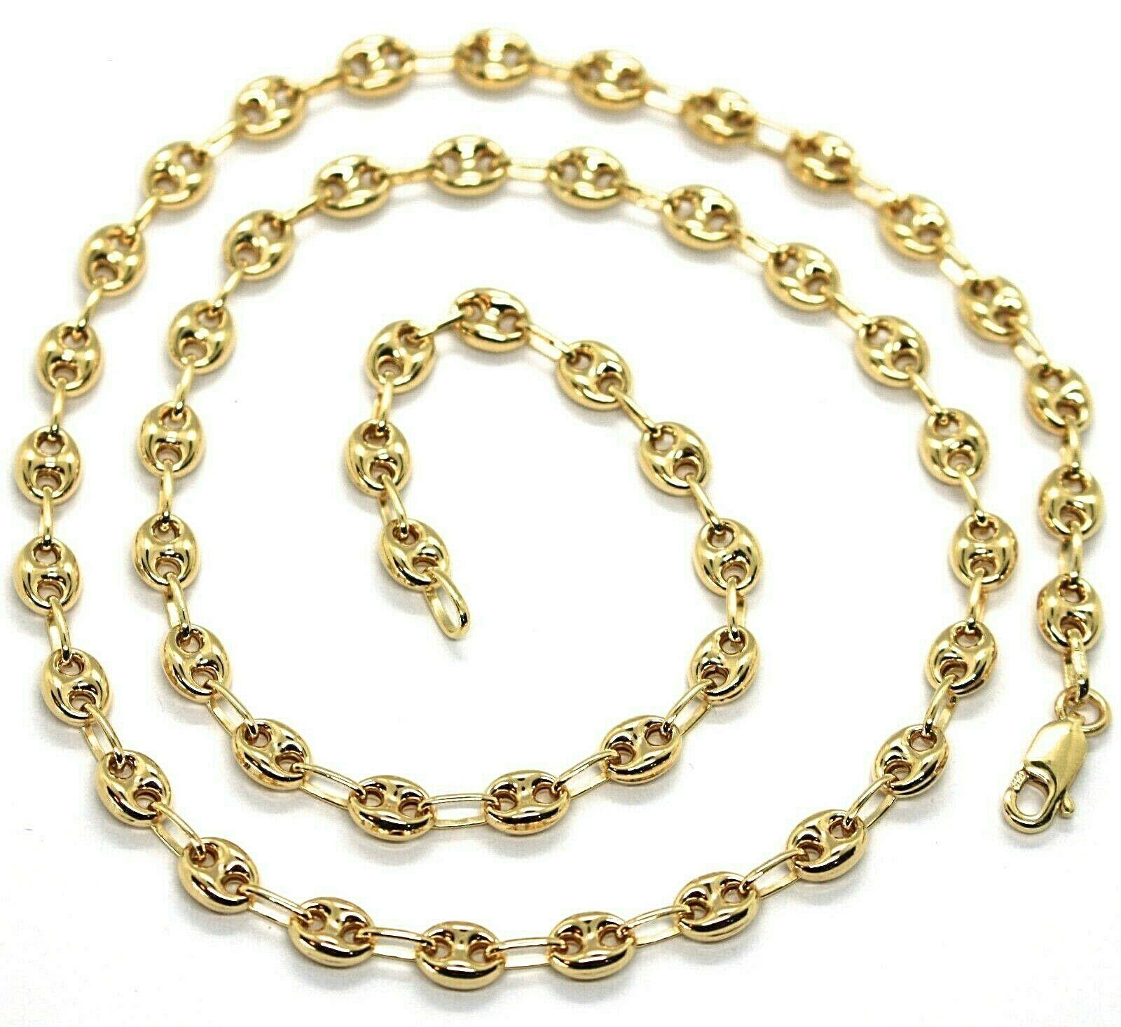 Cadena de Oro Amarillo 750 18K Largo 50 O 60 CM,Marina,Náuticos,Óvalos 5MM