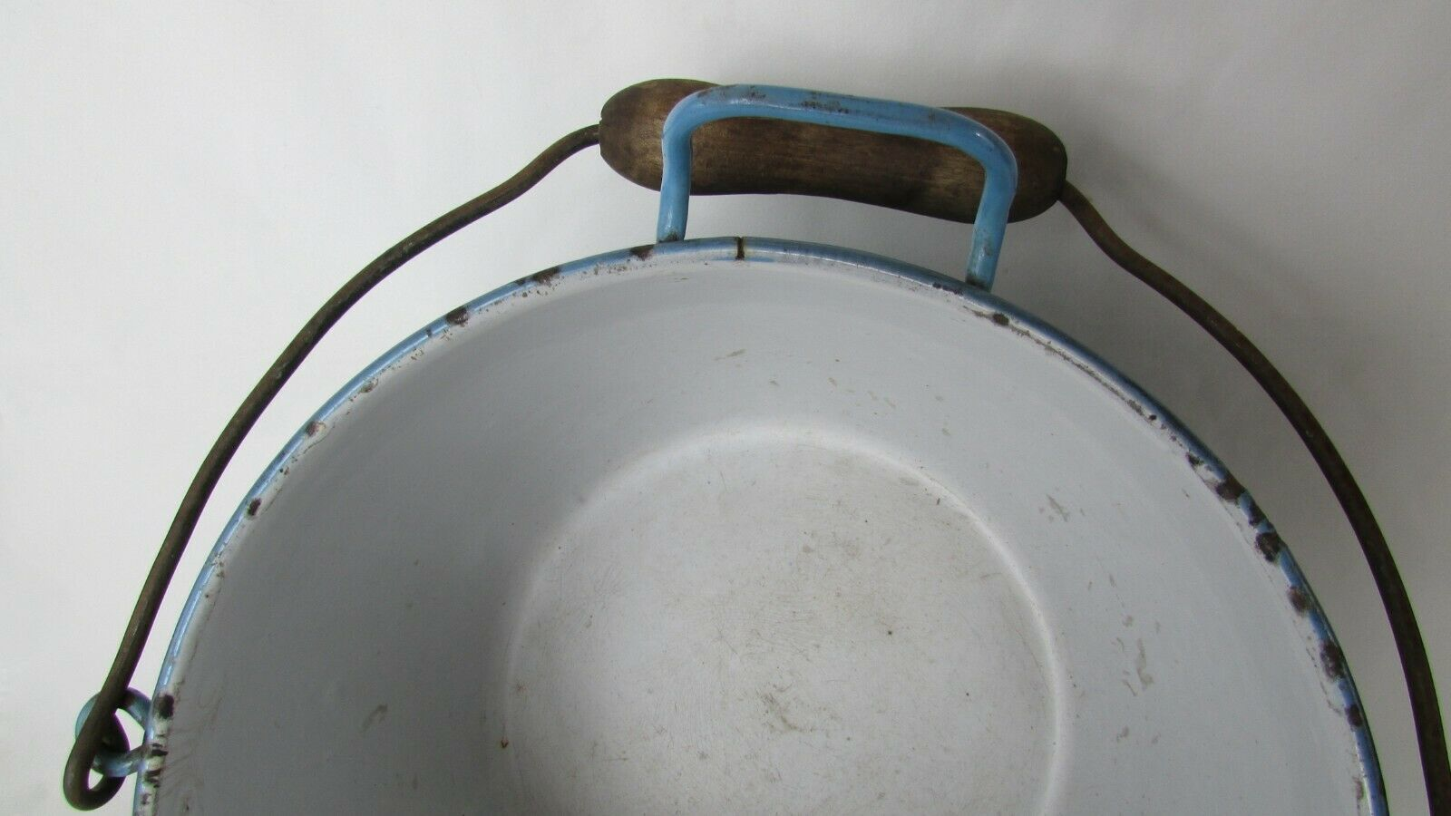 Vintage Enamel  Pail Bucket Blue and White Enamelware With Wooden Handle image 5