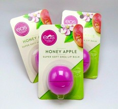 Lot of 3 EOS SUPER SHAE Super Soft Shea Lip Balm Sphere Honey Apple - $12.82