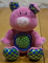 "Kids II BRIGHT PINK PIG RATTLE 5"" Plush Stuffed Animal - $15.35"
