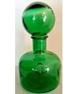 Fleur de Lis Handblown Dark Green Bottle Large Round Stopper Approximately - $88.83