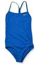 NWT $36 Nike Girls' Big Racerback One Piece Swimsuit NESS9644-494 Blue M... - $24.99