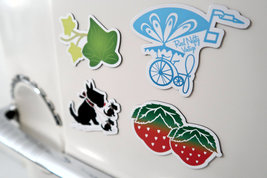 RNV Summer Magnet Set of 4 with Refrigerator Card | Bicycle, Scottish Terrier, S image 4