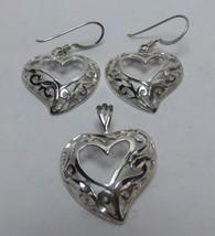 Petite Zig Zag Detail Earrings & Pendant Set 925 Sterling Silver T1001