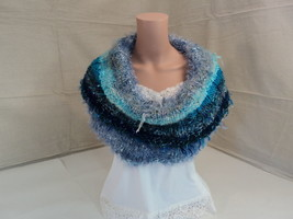 Handcrafted Wrap Reversible Cowl Teal Unique Wool Acrylic Female Adult - $54.28