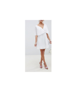 Asos Design Mini Dress with Pleat Skirt and Flutter Sleeve White Size US... - $29.69