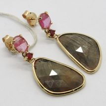 9K YELLOW GOLD PENDANT EARRINGS, DROP BROWN & OVAL PINK SAPPHIRE, RED RUBY image 3