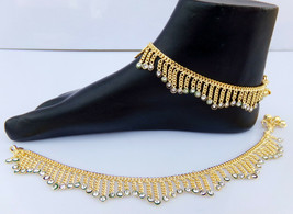 ANKLET BRACELET 22k GOLD PLATED PAYAL SET BOLLYWOOD Fashion INDIAN JEWEL... - $21.38