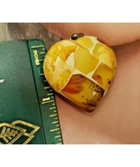 Unique Vintage Pendant Mosaic AMBER Puffy Heart 2.6 grams - $37.95