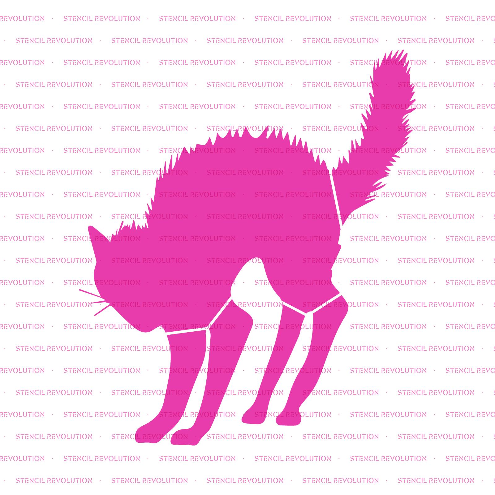 Black Cat Halloween Stencil - Reusable Stencils of Black Cat in Multiple Sizes