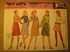 UNCUT Sewing Pattern 1971 McCall's SIZE Waist 27 SKIRT & Belt 2982 [Z25] - $4.80