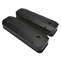BBC Fabricated Tall Aluminum Valve Covers Big Block Chevy 396 427 454 BLACK image 2