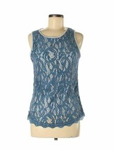 Adrianna Papell Women's Blue Lace Formal Dressy Shirt Top Blouse Size Me... - $26.99