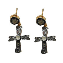 925 Sterling Silver Rose Cut Diamond Vintage Cross Dangle Earrings - $121.38
