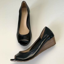 Cole Haan NikeAir NEW Tali Peep Open Toe Wedge Pumps Shoe Sz 9 Patent Black - $49.45