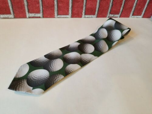 Vintage 1995 Ralph Marlin Neck Tie Green Golf Balls Print Just Balls Used