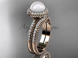 Ladies wedding ring sets pearl 14kt rose gold diamond halo engagement ring AP95 - $2,095.00