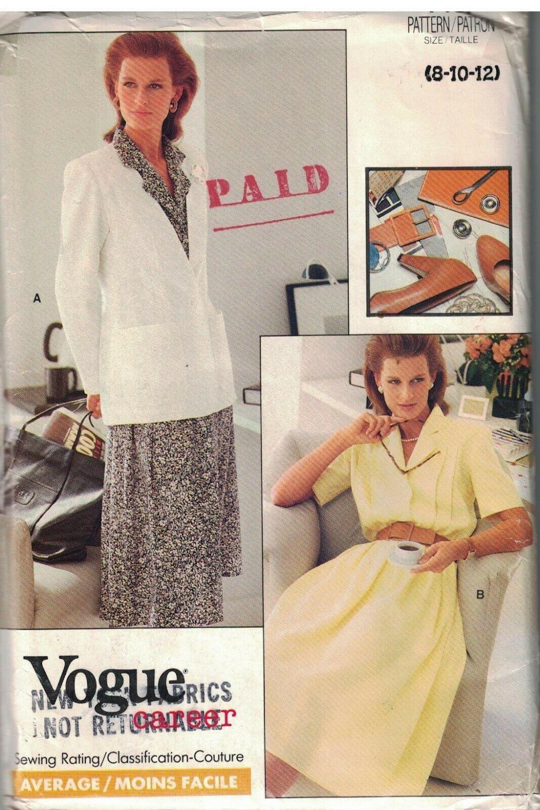 7157 sin Cortar Vintage Vogue Costura Patrón Misses Semi Ajustado Chaqueta Falda