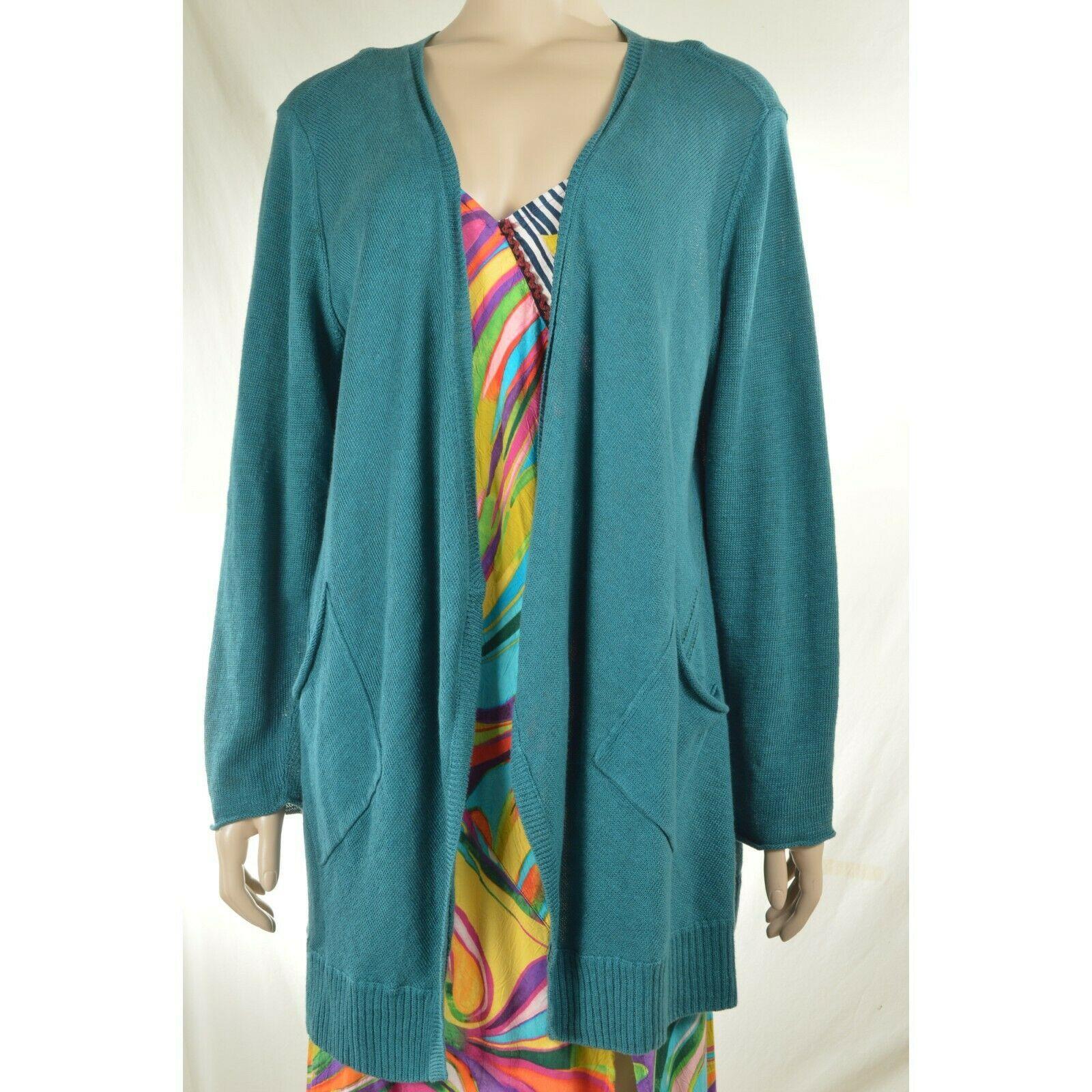Eileen Fisher sweater cardigan SZ L teal 100% linen knit pockets soft long s image 12