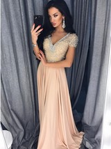 A-Line V-Neck Short Sleeves Beige Prom Dress with Beading Evening Gowns Hot - $198.00