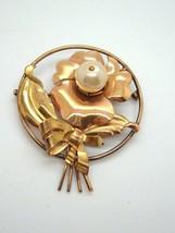 Vintage 1/20 Large Flower Brooch Pin faux Pearl - $16.80