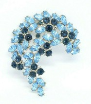 1961 CROWN TRIFARI Silver Blue Rhinestone Leaf Flower Pin Brooch (C) - $123.75