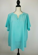 Andre By Unit Blouse Top Womens 2X Blue Short Sleeve V-Neck EUC A41-10 - $11.52