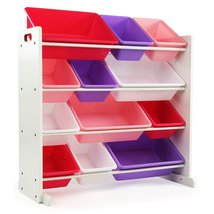 Kids' Toy Storage Organizer with 12 Plastic Bins, White/Pink & Purple - $95.00