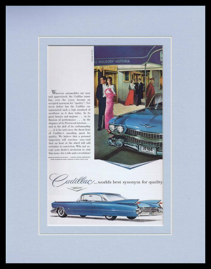 Primary image for 1959 Cadillac Framed 11x14 ORIGINAL Vintage Advertisement
