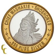 Chief Washakie Shoshones Native American Gaming Token 999 Silver Limited Ed - $62.64