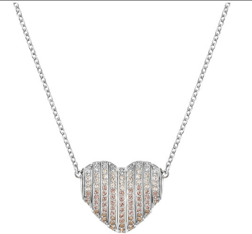 Swarovski Crystal Authentic Pendant Necklace Heart EXPLORE Signed Reversible